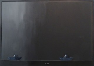 Dariusz Mlącki, TV with Paper Boats, acrylic on canvas