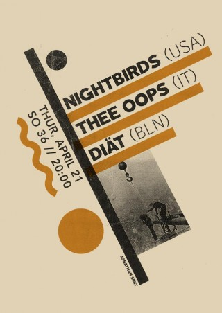 Jonathan Sirit, Poster for the Nothing Nice to Say Festival /// Night Birds /// Thee Oops /// Diät show in Berlin.