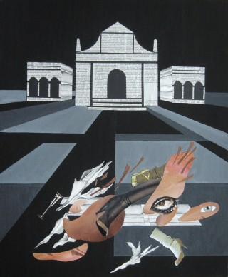 Kamil Klonowski, Mannerist Composition, egg tempera, Japanese ink, collage, 50 x 60 cm