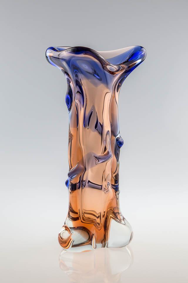 szk?o artystyczne ? unikatowy wazon pochodz?cy z czeskiej huty szk?a Skrdlovice - lata 60.