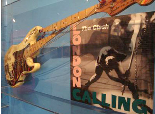 The Clash bassit's broken fender on display in a museum