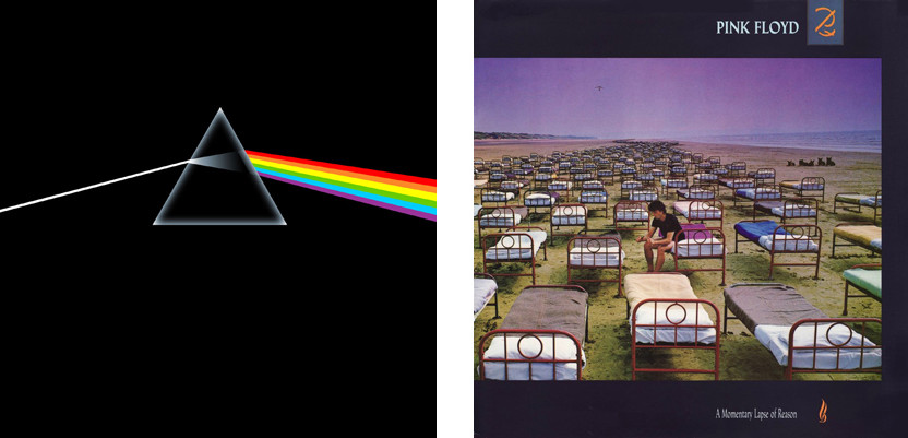 Hipgnosis – projekt okładki do Dark Side Of The Moon (1973) Pink Floyd;  A Momentary Lapse Of Reason (1987)