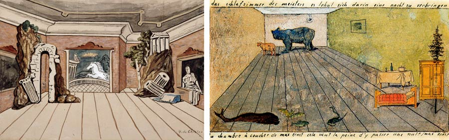 Giorgio de Chirico – sketch; Max Ernst, The master's bedroom, it's worth spending a night there