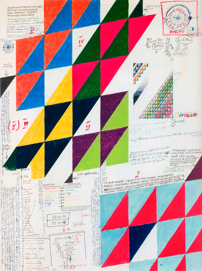 Jerzy Grabowski – Primary and Complementary Colours, mixed media, drawing on paper, 54,8 x 41,4, 1970