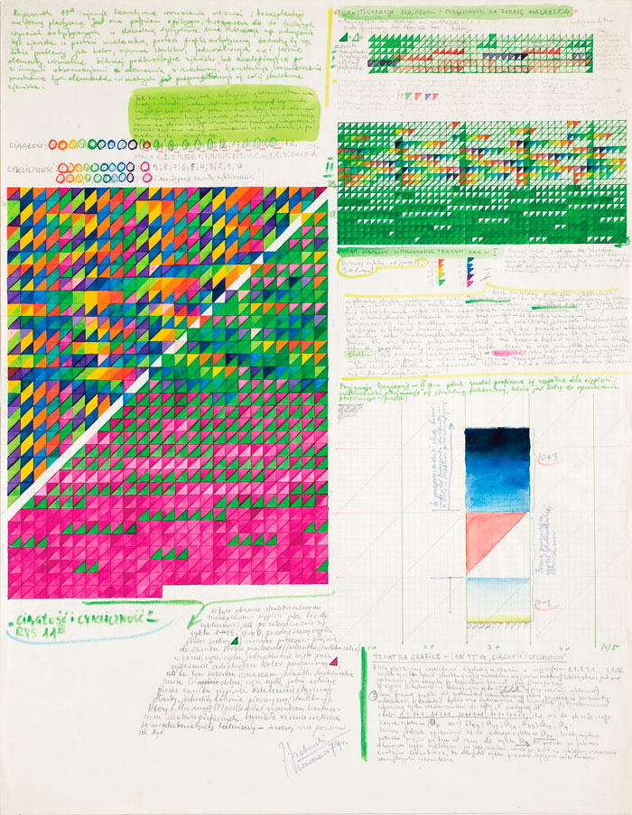 Jerzy Grabowski – Continuity and Cyclicity , 1974, mixed media, drawing on paper, 63 x 49,3 cm