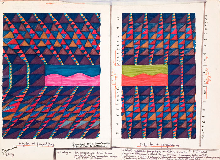 Jerzy Grabowski – 4th Theme of Perspective, 5th Theme of Perspective, drawing with felt-tip pen on paper, 29,7 x 40,7, 1970
